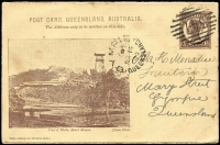 Lot 1077 [1 of 5]:Postal Card Selection with Queensland 1889-91 1d, 2d x2 & 3d unused, 1891-92 1½d unused, 1898 1d Views H&G #10 x4 used and one unused; Tasmania 1902 use of 1d Pink #7 uprated with ½d Tablet for transit to England, 1906 use of KEVII 1d from St Mary's to Campbell Town, also 1d + ½d Doublton unused; WA 1879 ½d & 1d and 1893 1½d on 'THREE PENCE' all unused; also South Australia 1d x2 (one used) plus ½d Wrapper unused; condition variable, many are fine. (19 items)