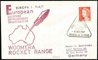 Lot 343 [1 of 4]:1966-67 Woomera Rocket Range European Launcher Development Organisation covers x4 (ELDO #1-4) all with typed addresses to Germany. (4)