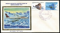 Lot 868:Bay Stamps 1979 AAT Flight set tied to silk cachet FDC by Glenelg (SA) pictormark FDI datestamp, fine unaddressed. Desirable mainland FDC.