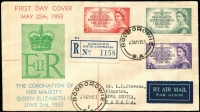 Lot 909 [1 of 2]:Bergen 1953 Coronation set tied to registered FDC by Booborowie FDI datestamps, typed address to Canada.