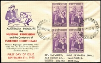 Lot 911:Bergen 1953 Nursing block of 4 tied to illustrated FDC by Edwardstown East '21SE55' FDI datestamp. Rare with block.