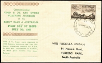 Lot 910:Bergen 1955 3½d Cobb & Co tied by Adelaide '6JY55' FDI datestamp to hand-printed FDC, hanstamped address.