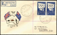 Lot 919 [1 of 5]:Challis 1956 Olympics set (registered) & both Olympic Publicity issues (2/- blue registered) tied to separate covers by FDI cancels, all in very fine condition with typed addresses. (3)