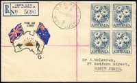 Lot 920 [3 of 6]:Challis 1959 Flowers 2/-, 2/3d & 3/- in blocks of 4 tied to separate matching registered FDCs by Perth FDI cancels, typed addresses. (3)