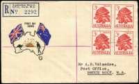 Lot 920 [1 of 6]:Challis 1959 Flowers 2/-, 2/3d & 3/- in blocks of 4 tied to separate matching registered FDCs by Perth FDI cancels, typed addresses. (3)