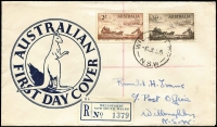 Lot 452 [1 of 2]:Cole (RN) 1955 Cobb & Co duo tied to generic design registered FDC by Willoughby (NSW) '6JL55' FDI datestamp. Very late, possibly unique, use of the 'Kangaroo' envelope, first used in 1938.
