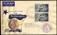 Lot 924 [1 of 2]:Collinridge Rivett 1958 Qantas pair tied by Sydney '14JA58' datestamp to Qantas World Flight illustrated cover with hand-painted embellishment, numbered #28 of 60 produced.