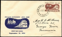 Lot 653:Easther (Max) 1954 3½d Railway Centenary tied by George Town (Tas) '13SE54' FDI datestamp to illustrated FDC.
