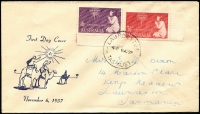 Lot 678 [2 of 2]:Easther (Max) 1957 & 1958 Christmas sets tied by Launceston (Tas) FDI datestamps to two illustrated FDCs.