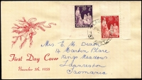 Lot 678 [1 of 2]:Easther (Max) 1957 & 1958 Christmas sets tied by Launceston (Tas) FDI datestamps to two illustrated FDCs.