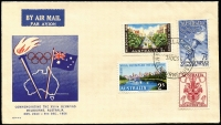 Lot 942:Guthrie 1956 Olympics set unusually tied by Philatelic Bureau (Melbourne) '31OC56' FDI datestamp to illustrated FDC, fine unaddressed condition.