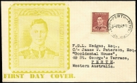 Lot 407:Haslem 1938 1½d Maroon KGVI tied by Perth '20AP38' FDI datestamp to illustrated FDC, typed address. Very fine.