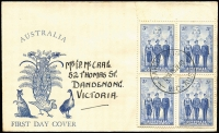 Lot 953:Kufner (Alex) 1940 3d AIF block of tied by Dandenong '15JY40' FDI datestamp to generic 'Fauna' FDC, addressed to McCrae. Rare non-PO cachet FDC.