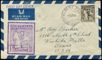 Lot 701 [1 of 2]:Martindale 1949 1/6d Hermes tied by Albert Park (Vic) '1SE59' FDI datestamp to scarce 'blue-edged' illustrated FDC.
