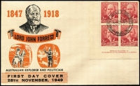 Lot 679 [3 of 3]:Miller Bros 1949 2½d Forrest imprint blocks of 4 x3 tied by West Wallsend (NSW) '28NO49' FDI datestamps to separate FDCs with matching cachets in different colour combinations, all unaddressed. (3)