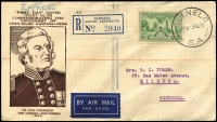 Lot 981 [1 of 2]:SA Stamp Company 1936 1/- SA Centenary tied by Glenelg '3AU36' datestamp to registered illustrated cover, typed address.