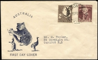 Lot 987:Taylor 1948 1/3d Bull & 2/- Crocodile tied by Carlton South '16FE48' FDI datestamp to generic 'fauna' FDC, typed address.