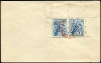 Lot 722 [1 of 2]:Plain 1928 3d Kookaburra Horizontal pair (from top half of M/S) tied to plain cover by Exhibition '29OC28 FDI datestamp in red.