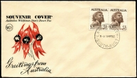 Lot 562:Wesley 1952 2/6d Aborigine pair tied to Sturt's Desert Pea souvenir envelope by back-dated Largs North '19MR52' FDI datestamp, fine unaddressed condition.