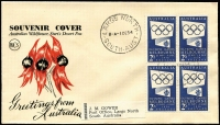 Lot 998 [1 of 2]:Wesley 1954 2/- Blue Olympic Publicity block of 4 tied to Sturt's Desert Pea souvenir envelope by back-dated Largs North '1DE54' FDI datestamp, fine unaddressed condition.