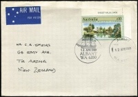Lot 342:1989 $10 Adelaide Botanical Gardens BW #1414 corner marginal example (with sheet value) tied by Albany '12APR1989' FDI pictorial datestamp to plain cover to NZ.