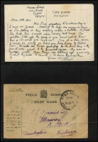 Lot 1050 [2 of 5]:1914-1915 Gallipoli Campaign Correspondence comprising eleven covers or cards most with originally letter to/and from Dennis family in Nambrok Victoria, a couple of the outward covers with 'UNDELIVERABLE/ABPO/RETURN TO SENDER' handstamps, various censor & FPO markings, also four letters without covers and a 1915 (Dec 15) Billy Hughes government 'Call to Arms' notice; mixed condition as to be expected. (11)