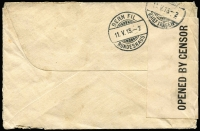 Lot 1052 [2 of 2]:1915 (Mar 24) small cover from Hobart to Bureau for Repatriation of Civil Internees (Berne), Switzerland, with Roos 1d x2 & ½d tied by Hobart datestamps, black/white censor tape & very fine strike of 'CH1/[crown]/PASSED BY/CENSOR' handstamp, Berne arrival backstamps, minor edge blemishes & mild aging, quite fine overall.
