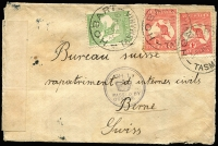 Lot 1052 [1 of 2]:1915 (Mar 24) small cover from Hobart to Bureau for Repatriation of Civil Internees (Berne), Switzerland, with Roos 1d x2 & ½d tied by Hobart datestamps, black/white censor tape & very fine strike of 'CH1/[crown]/PASSED BY/CENSOR' handstamp, Berne arrival backstamps, minor edge blemishes & mild aging, quite fine overall.
