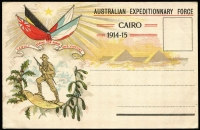 Lot 1051 [1 of 2]:1915 (Jan 17) used of illustrated Australian Expeditionary Force 1914-15 postcard with message in French, unaddressed and sent under cover. Very scarce card.