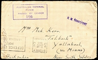 Lot 357 [3 of 4]:1917-40s Covers and Stationery including 1940 AIF 'H.M. TRANSPORT' cover with 'DEFENCE FORCES/MAIL/NO POSTAGE REQUIRED' handstamp, 1941 use of Australian Defence Canteens 1d green KGVI Envelope BW #ES75 with Concession Postal Rate Handstamp, etc; also unrelated 1951 cover to Girl Guides Assoc with 2d KGVI & 1d Princess Elizabeth 'G/NSW' perfins. (9)