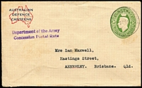 Lot 357 [1 of 4]:1917-40s Covers and Stationery including 1940 AIF 'H.M. TRANSPORT' cover with 'DEFENCE FORCES/MAIL/NO POSTAGE REQUIRED' handstamp, 1941 use of Australian Defence Canteens 1d green KGVI Envelope BW #ES75 with Concession Postal Rate Handstamp, etc; also unrelated 1951 cover to Girl Guides Assoc with 2d KGVI & 1d Princess Elizabeth 'G/NSW' perfins. (9)