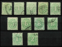 Lot 878 [2 of 2]:1902-04 Design Completed Wmk Crown/NSW ½d to 5/- between BW #D13-42, postal cancels, generally fine, Cat $380. (12)