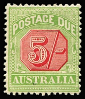 Lot 883:1909-10 Wmk Crown/Double Lined A Thick Paper 5/- rose-red & green, BW #D90, aged gum, Cat $125.