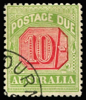 Lot 880 [1 of 2]:1909-10 Wmk Crown/Double Lined A Thick Paper ½d to 10/- with 1909 Melbourne CTO quarter cancels BW #D76w-D91w, most values without gum, Cat $600+. (10)