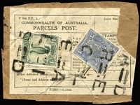 Lot 967 [3 of 4]:1932-40s CofA Parcel Post Post Labels comprising 1932 with 1/- Roo & 3d KGV, 1933 with 1/- Large Lyrebird pair (Stamps removed & re-affixed), c1932 with 1/- Large Lyrebird & 3d KGV; also 1946-48 Parcel Post red on cream Form of Customs Declaration (faults) for 11lbs food parcel with defective 5/- Robes & 5d Ram x2 tied by Richmond (Vic) datestamps, addressed to Chepstow, England. (4 items)