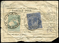 Lot 967 [1 of 4]:1932-40s CofA Parcel Post Post Labels comprising 1932 with 1/- Roo & 3d KGV, 1933 with 1/- Large Lyrebird pair (Stamps removed & re-affixed), c1932 with 1/- Large Lyrebird & 3d KGV; also 1946-48 Parcel Post red on cream Form of Customs Declaration (faults) for 11lbs food parcel with defective 5/- Robes & 5d Ram x2 tied by Richmond (Vic) datestamps, addressed to Chepstow, England. (4 items)