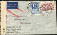 Lot 408:1940 (Sep 20) Parsonage & Co (agents & importers) dual censor airmail cover to Switzerland with red jusq'ua bars applied in London, franked 1/6d Hermes & 3d AIF tied by Sydney Air datestamps, slightly reduced at top.