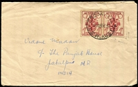 Lot 320 [1 of 2]:1956 4d Olympics pair, tied by Crookwell (NSW) datestamp to 1956 (Dec 29) surface mail double-rate cover to India, Jabalpur arrival backstamp. Scarce usage to unusual destination.