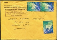 Lot 326:2000 Air Force Office in Malaysia OHMS airmail cover from Australian '324 Combat Support Squadron' based at RMAF Base Butterworth to Australia with 30s Global Knowledge Conference x3 tied by Butterworth datestamp.
