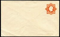 Lot 900:1920-21 2d Orange KGV Star No 'POSTAGE' BW #EP21, unused, unsealed flap, Cat $400. Scarce.