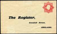 Lot 581:1924-28 1½d Red KGV Star With 'POSTAGE' BW #ES56 for 'The Register' (Grenfell Street, Adelaide), trivial soiling, unused, Cat $200.