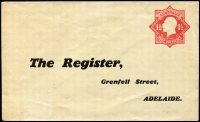 Lot 901:1924-28 1½d Red KGV Star With 'POSTAGE' BW #ES56 for 'The Register' (Grenfell Street, Adelaide), trivial soiling, unused, Cat $200.
