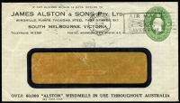 Lot 902 [2 of 2]:1928-37 1d Green KGV Oval BW #ES64 window envelope for user James Alston & Sons (Melbourne) used in 1934 with attractive all-over advertising on reverse for the Alston Cattle Trough.