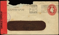 Lot 611:1941-50 2½d Red KGVI Oval 1949 (Mar 15) use of PTPO window envelope BW #ES86 to Israel cancelled with Sydney slogan datestamp, Israeli civil censor tape and handstamp in violet, cover damaged at top. Unusual.