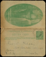 Lot 604:1923-24 1½d Green KGV Sideface P12½ with Margaret Falls (Tas) illustration BW #LC51(73), somewhat aged, postally used from Bowral To Manly (NSW), scarce scene, Cat $1,000.