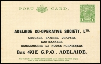 Lot 894:1925-30 1d Green KGV Sideface New Design Die III, with printed address for Adelaide Co-operative Society, very fine unused. [Arguably could be considered PTPO as the user's address setting is identical to the KGVI 1d Card (BW #PS25) illustrated at p57 of the Brusden White catalogue]