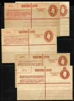 Lot 904 [2 of 3]:1942-65 Selection comprising 5½d KGVI (three different), 8d, 9d and 1/0½d, QEII 1/0½d Brown; 1/7d Red in both Types; 1959 2/5d Red with obliterating lines Setting 1; 1962 & 1965 2/5d Red, all fresh mint. BW #RE31-40 & 42-43, Cat $570. (12)