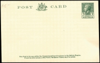 Lot 891 [3 of 5]:KGV-QEII Selection: mostly unused with Postal Cards x19 including 1d rose KGV BW #P1, 1d Roo #P24 with printed notice for Official Assignee (Sydney) used, KGV 1d Red #P27 & #P28, 1918-19 1½d on 1d #P48 x2, 1923 1½d green #P53, 1923-24 1d violet #P56 (Cat $100), 1951-53 3d KGVI #P74, also Envelopes 1915-16 KGV 1d red Die I (few spots, Cat $250), plus Registration Envelopes QEII pre-decimal or decimal mint or used x8; condition variable but generally fine. Useful lot. (28)
