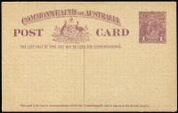 Lot 891 [1 of 5]:KGV-QEII Selection: mostly unused with Postal Cards x19 including 1d rose KGV BW #P1, 1d Roo #P24 with printed notice for Official Assignee (Sydney) used, KGV 1d Red #P27 & #P28, 1918-19 1½d on 1d #P48 x2, 1923 1½d green #P53, 1923-24 1d violet #P56 (Cat $100), 1951-53 3d KGVI #P74, also Envelopes 1915-16 KGV 1d red Die I (few spots, Cat $250), plus Registration Envelopes QEII pre-decimal or decimal mint or used x8; condition variable but generally fine. Useful lot. (28)