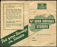 Lot 583 [2 of 3]:WWII War Savings Booklet with No Wmk 6d 'Spifire' P14 x11 examples affixed (plus a loose single stamp). (2 items)
